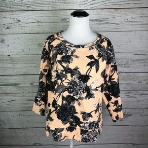 Zara W&B French Terry Sweatshirt Top Sz M Peach